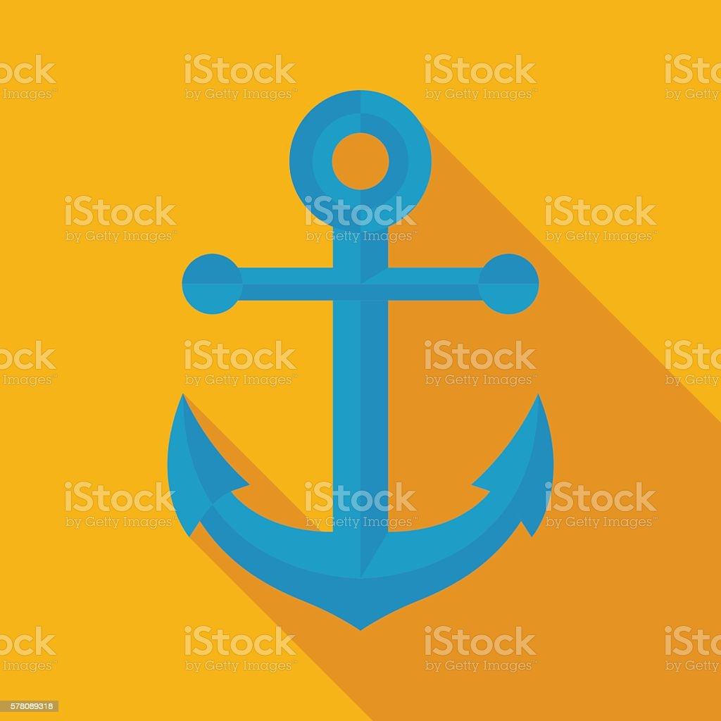anchor icon with long shadow. flat style vector illustration vector art illustration