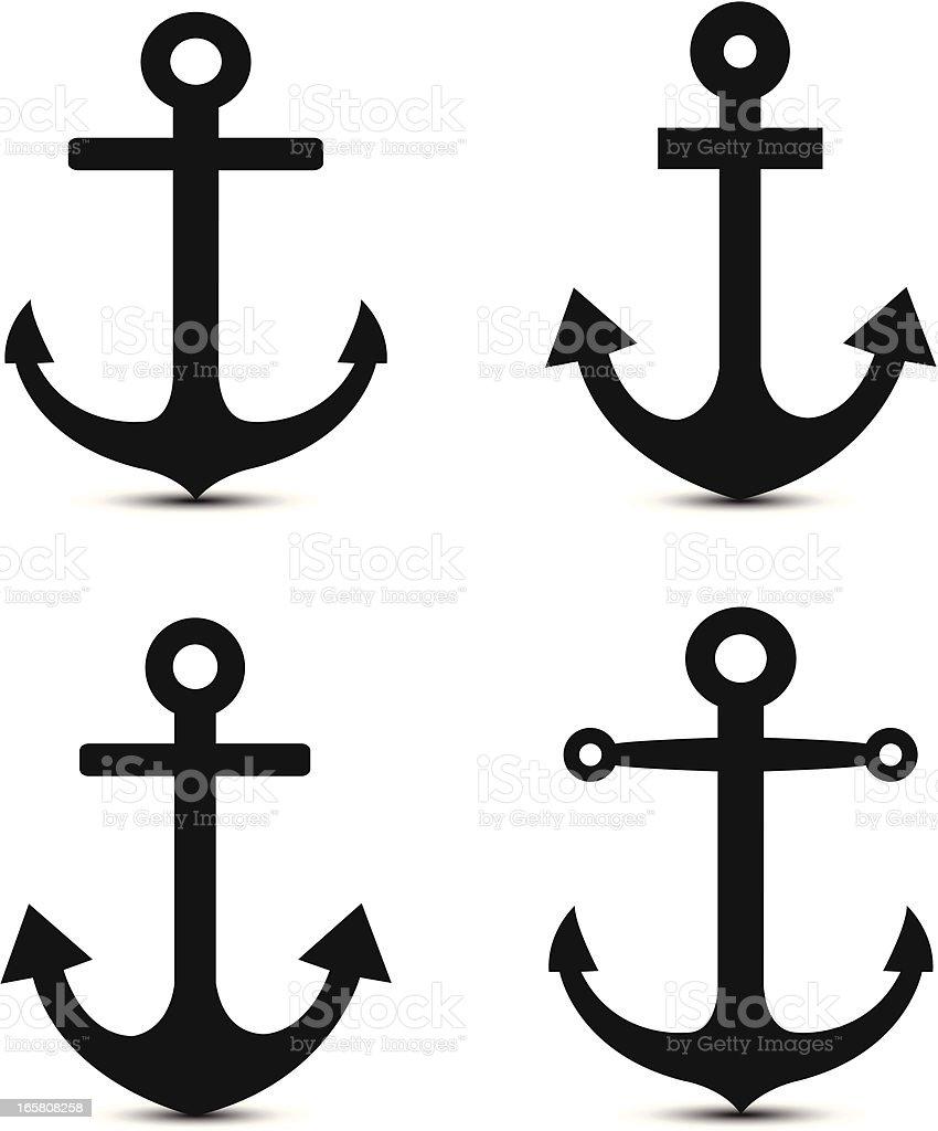anchor icons vector art illustration