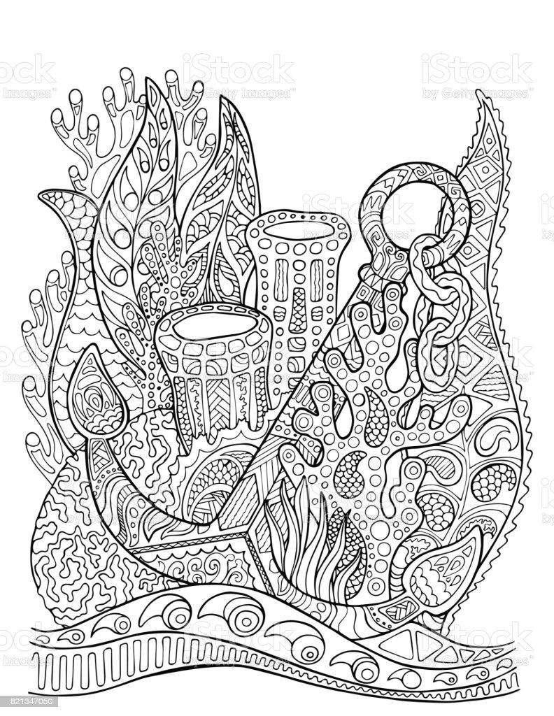 Anchor In Coral Reef Adult Coloring Page Underwater Vector ...