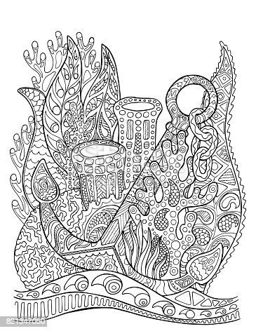 istock Torus with marine life: fish, jellyfish, starfish, corals and ...