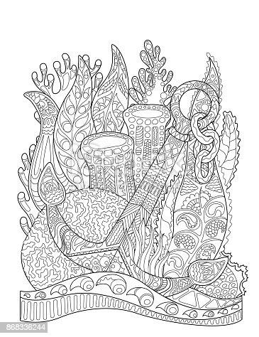Ilustración de Ancla En Algas Y Corales Ancla En Arrecife De Coral ...