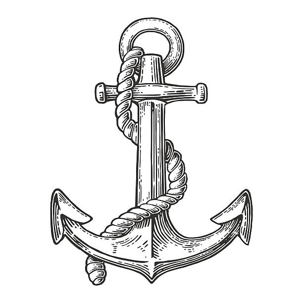 Anchor isolated on white background. vector art illustration