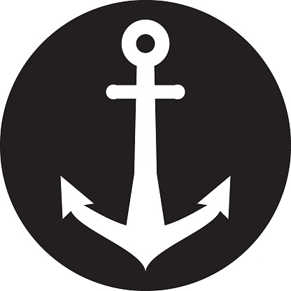 Anchor line icon on black circle background