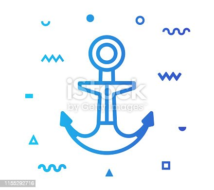 Anchor outline style icon design with decorations and gradient color. Line vector icon illustration for modern infographics, mobile designs and web banners.