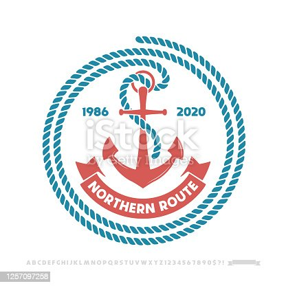 istock Anchor logo, nautical adventure emblem, t-shirt print style. 1257097258