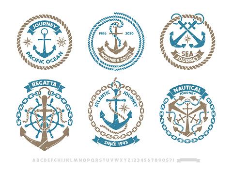 Anchor logo, nautical adventure emblem, t-shirt print style.