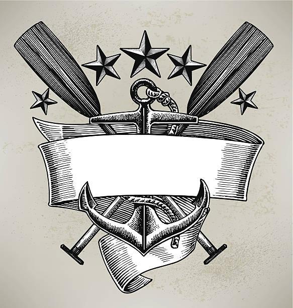 ilustraciones, imágenes clip art, dibujos animados e iconos de stock de anclaje de remo navegación banner - tatuajes náuticos