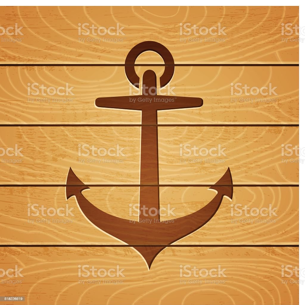 anchor on wooden background vector art illustration