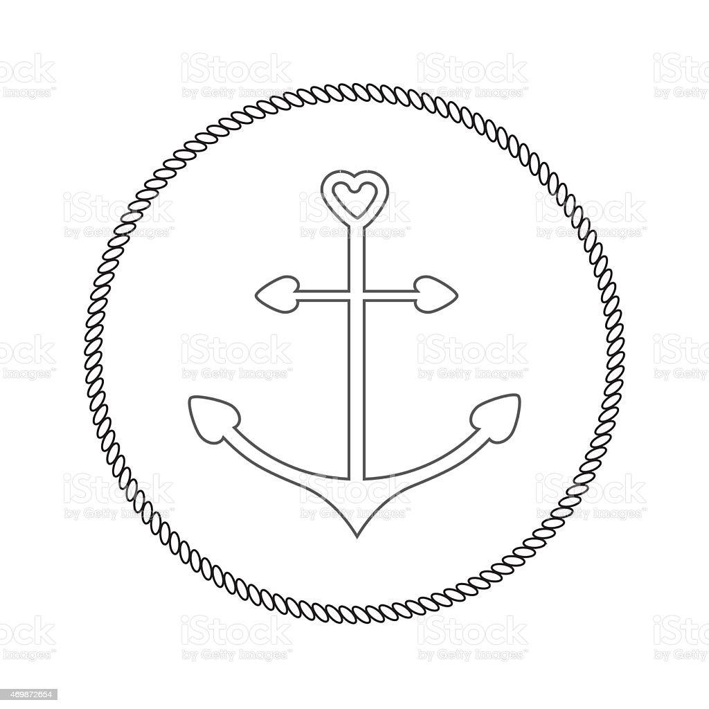Anker Form Herz.   Runde Seil-frame-label-Symbol isoliert Flachbildfernseher – Vektorgrafik