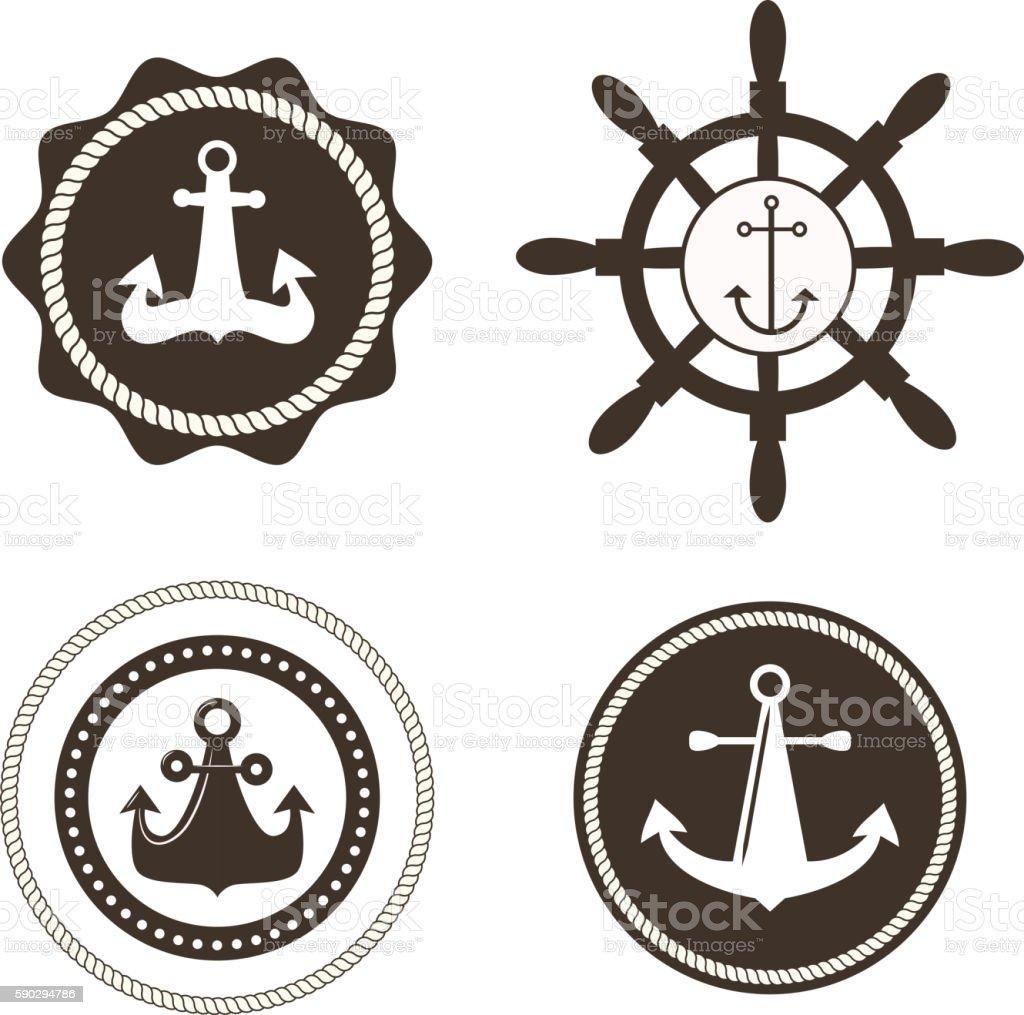 Anchor symbols vector badge royaltyfri anchor symbols vector badge-vektorgrafik och fler bilder på ankare - fartygsdel