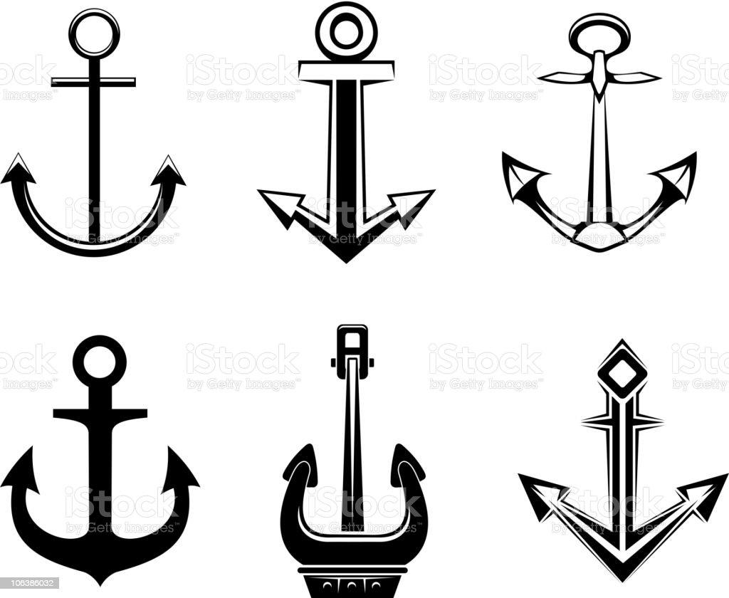 Anchor symbols vector art illustration