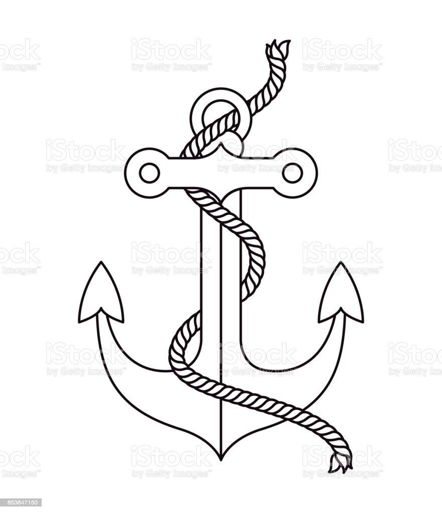 Anker Tattoo isoliert Icon-design – Vektorgrafik