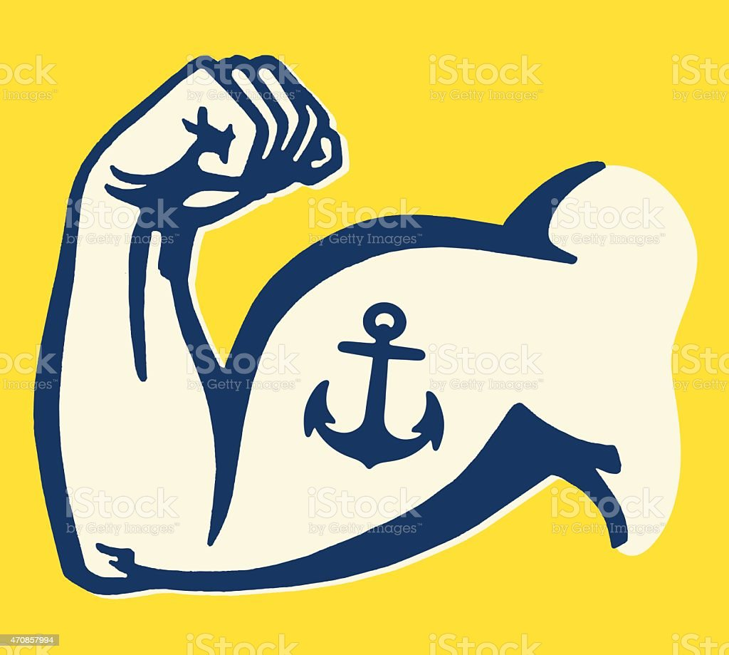 Anchor Tattoo on Muscle Man's Arm vector art illustration