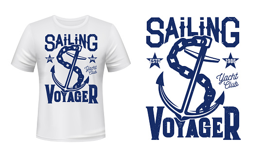 Anchor t-shirt print mockup, sailing and yachting
