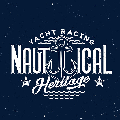 Anchor t-shirt print, yacht racing club badge