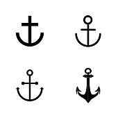 Vector art: anchor silhouette icon set.