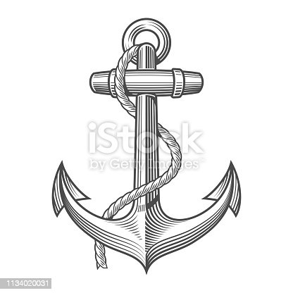 istock Anchor Vintage Woodcut Style 1134020031