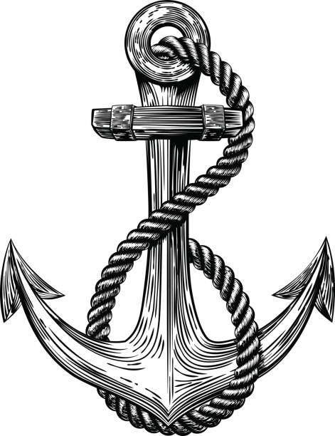 Anchor Vintage Woodcut Style vector art illustration