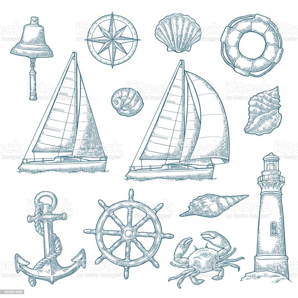 Anchor, wheel, sailing ship, compass rose, shell, crab, lighthouse engraving vector art illustration