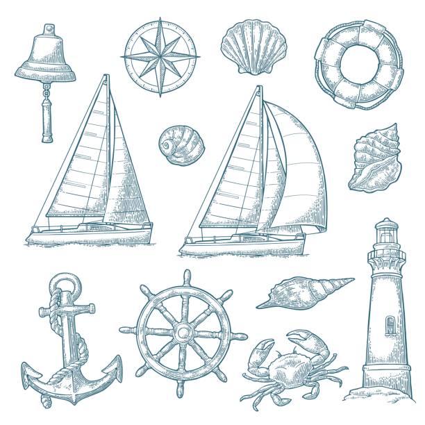 ilustraciones, imágenes clip art, dibujos animados e iconos de stock de ancla, rueda, velero, rosa de los vientos, cáscara, cangrejo, grabado de faro - tatuajes náuticos