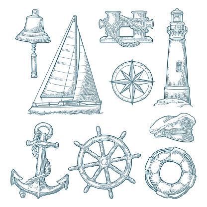 Anchor, wheel, sailing ship, compass rose, shell, crab, lighthouse engraving