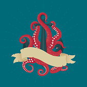 Anchor with pink tentacles and vintage ribbon. Naval theme illustration. Adventure, exploration, danger symbol.