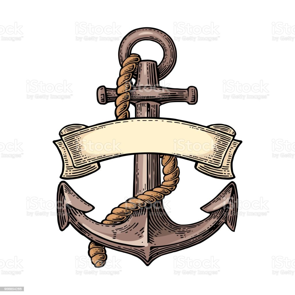 Royalty Free Silhouette Of The Anchor Tattoo Sketches Clip Art