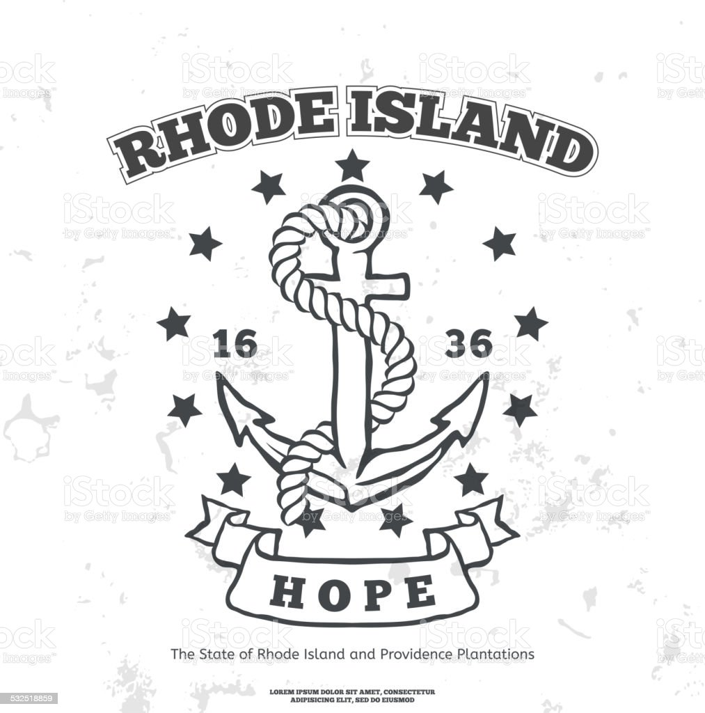 Anchor with rope and hope. Design elements. T-shirt print vector art illustration