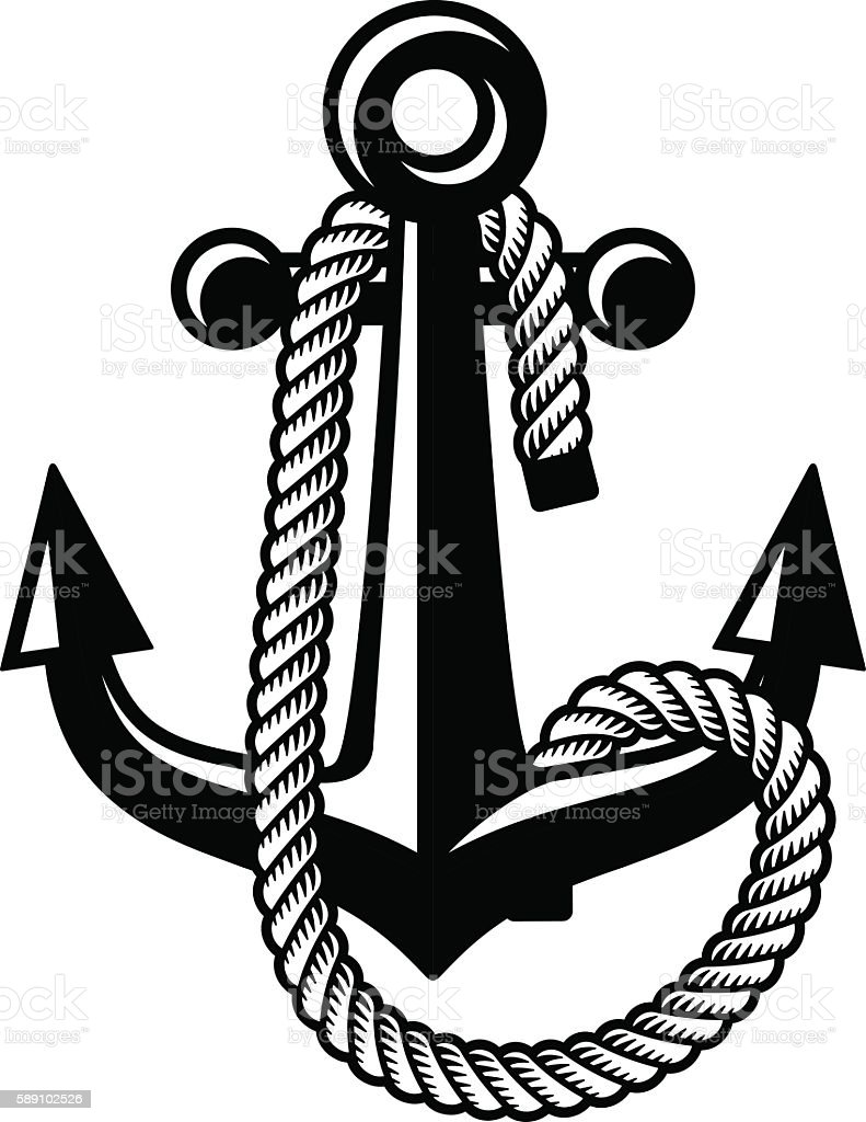 anchor with rope black symbol vector art illustration