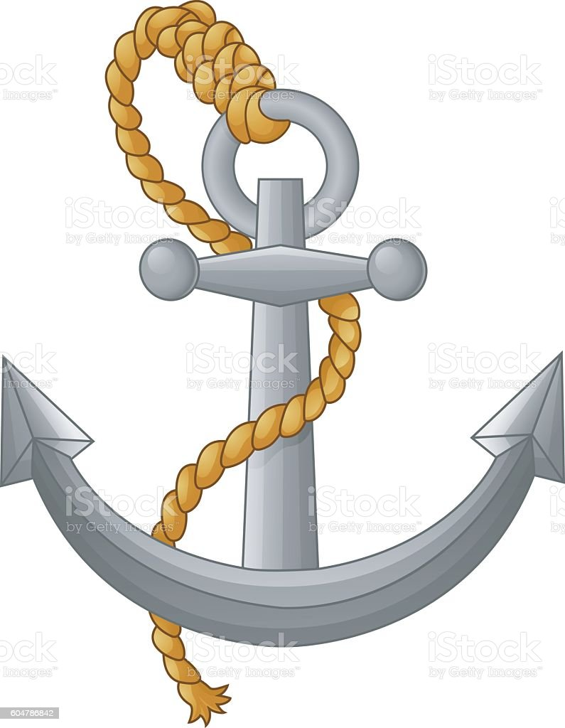 Anchor with rope isolated on white background vector art illustration