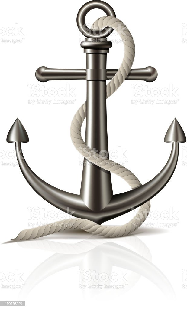 Anchor with rope on white background. royalty-free stock vector art