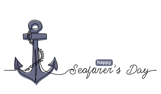 Anchor with rope simple vector banner, poster, background. One continuous line drawing of sea sign anchor and text happy Seafarers day