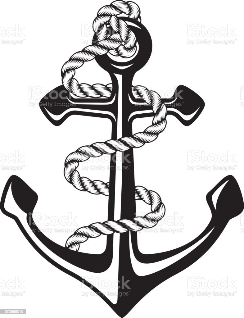 anchor with rope stock vector art amp more images of anchor
