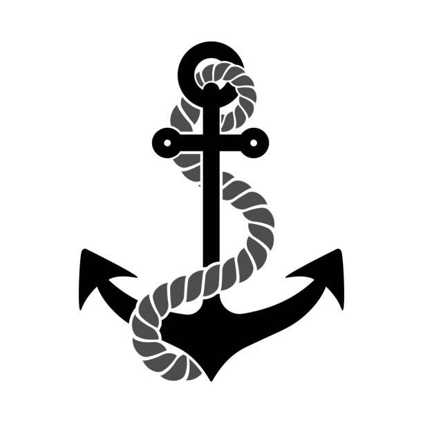 ilustraciones, imágenes clip art, dibujos animados e iconos de stock de anclaje de cuerda - tatuajes náuticos