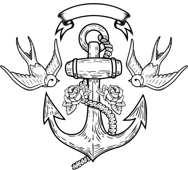 illustrations, cliparts, dessins animés et icônes de l'ancre avec des hirondelles et des roses. conception de tatouage. illustration vectorielle - tatouages marins