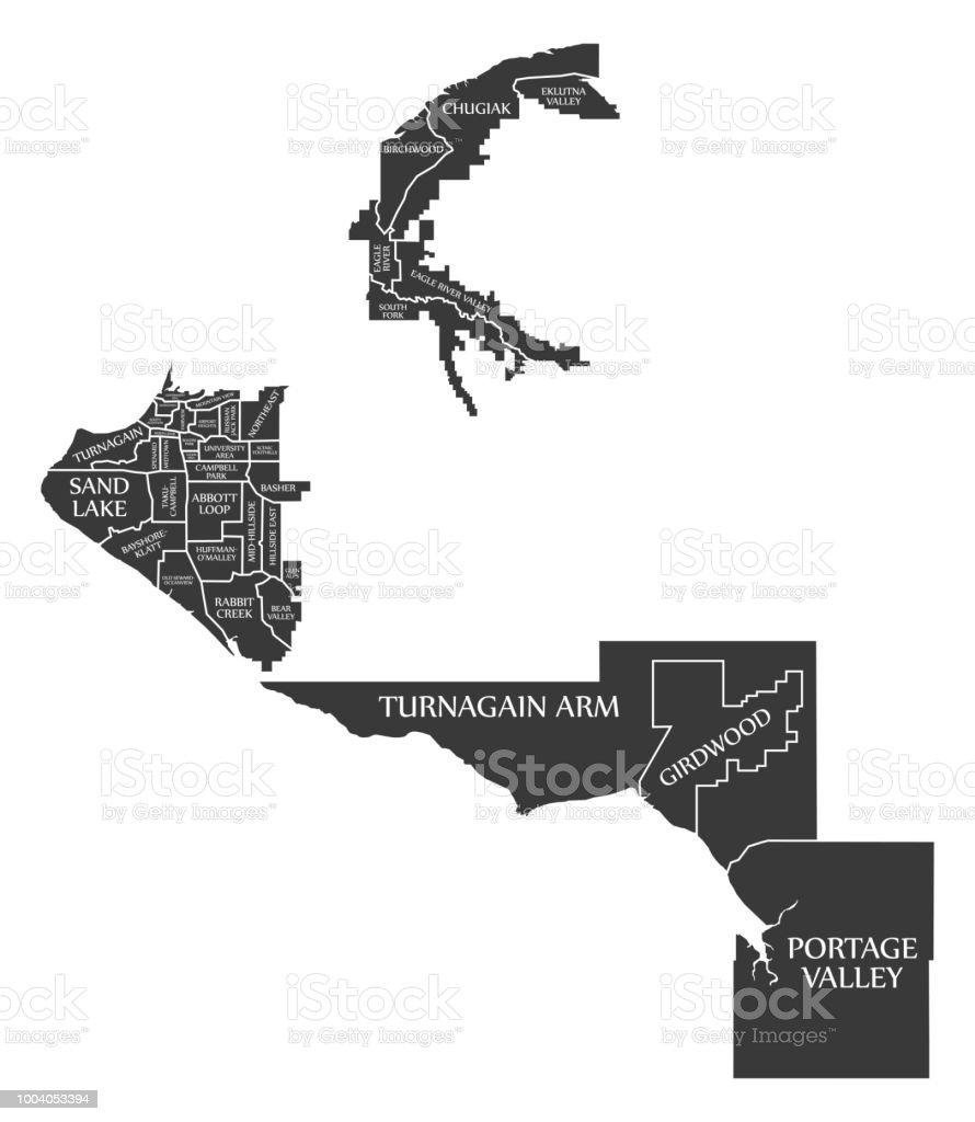 Anchorage Alaska City Map Usa Labelled Black Illustration Stock
