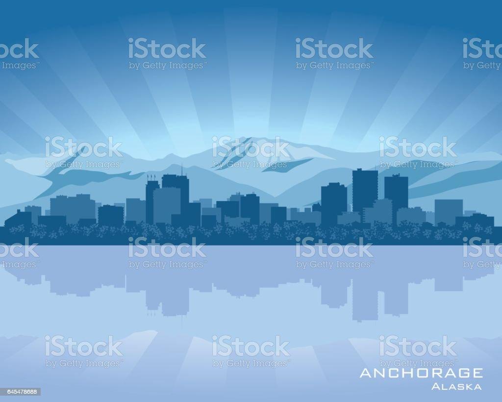 Anchorage Alaska city skyline silhouette vector art illustration