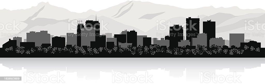 Anchorage City skyline silhouette vector art illustration