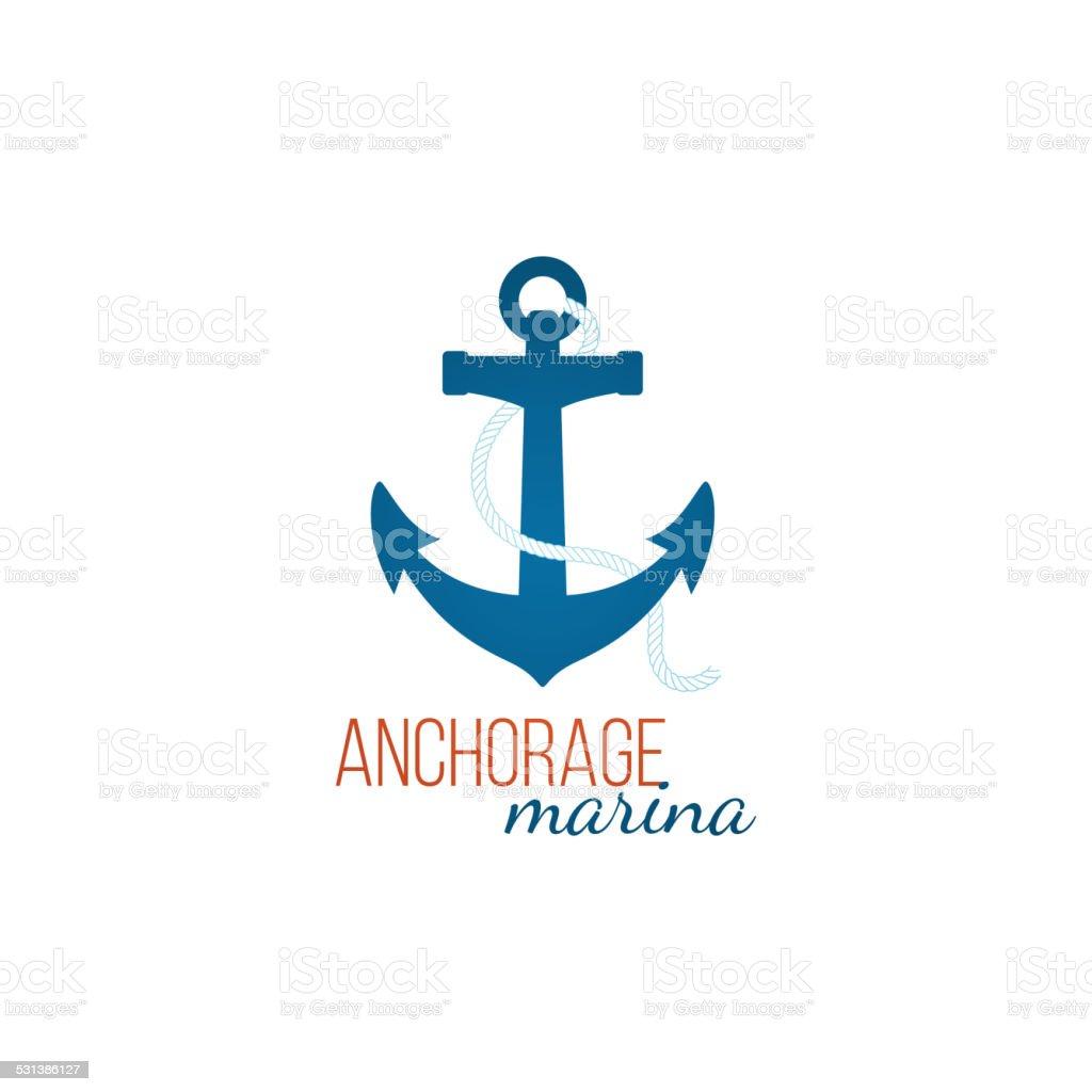 Anchorage marina-Vorlage mit Anker – Vektorgrafik
