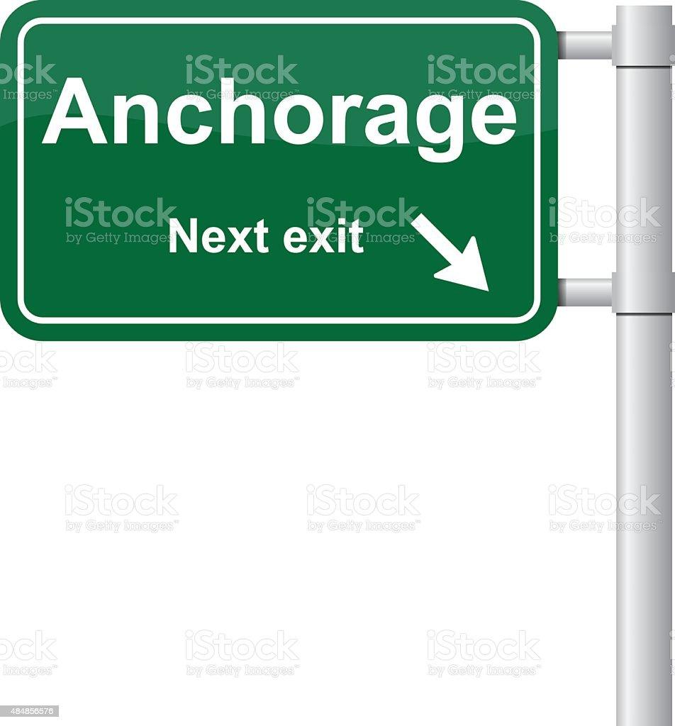 Anchorage next exit green signal vector vector art illustration
