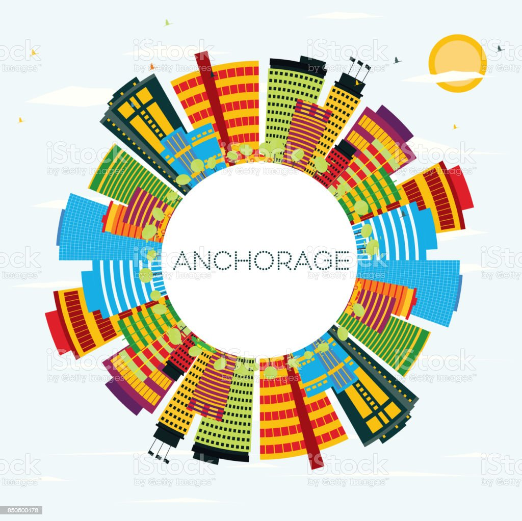 Anchorage Skyline with Color Buildings, Blue Sky and Copy Space. vector art illustration