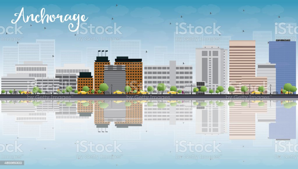 Anchorage (Alaska) Skyline with Grey Buildings and reflections vector art illustration