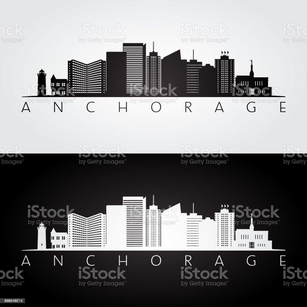 Anchorage usa skyline and landmarks silhouette, black and white design, vector illustration. vector art illustration