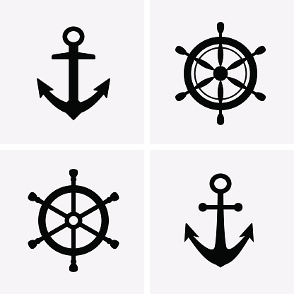 Anchors and Rudder Icons