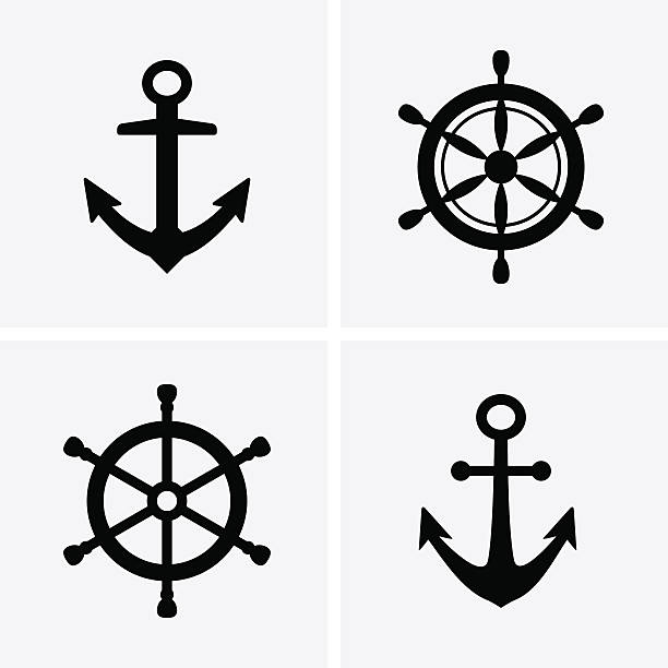 Anchors and Rudder Icons vector art illustration
