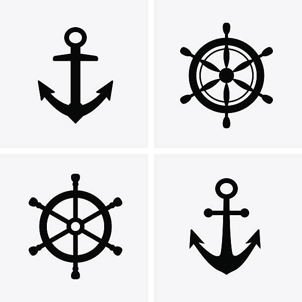 anker und ruder-icons - wasserfahrzeug stock-grafiken, -clipart, -cartoons und -symbole