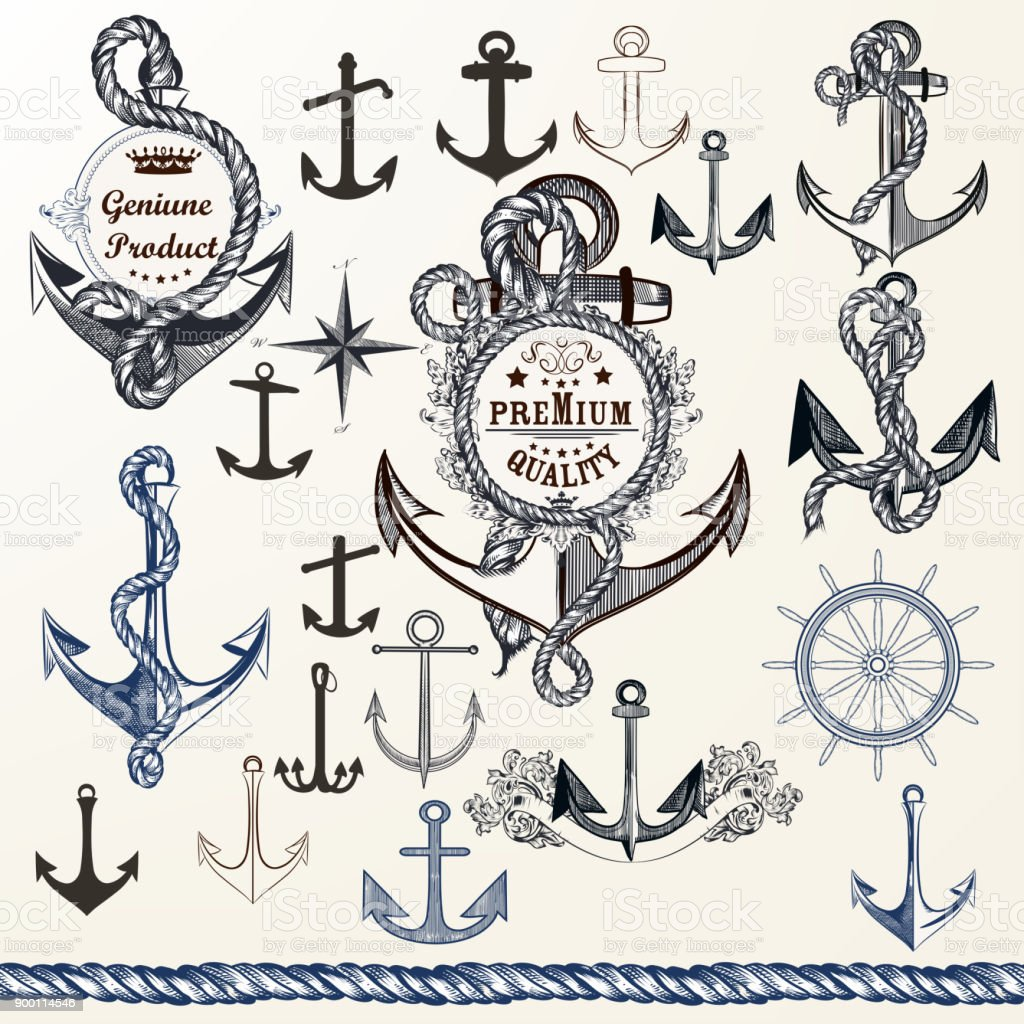 Anchors Labels For Logotype Or Print Design In Vintage Style Hand Drawn Set Royalty