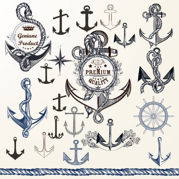 Anchors, labels for logotype or print design in vintage style. Hand drawn set vector art illustration