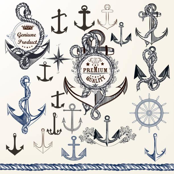 ilustraciones, imágenes clip art, dibujos animados e iconos de stock de anclajes, las etiquetas de logotipo o diseño de impresión en estilo vintage. sistema de mano alzada - tatuajes náuticos