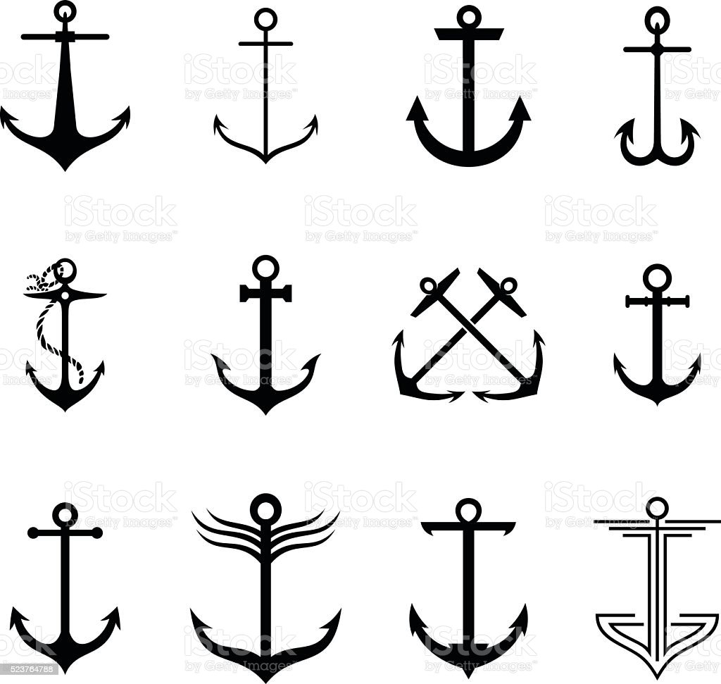 Anchors vector art illustration